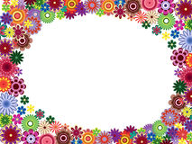 Greeting card with colourful flowers. Greeting card with placed around the perimeter many colourful flowers and empty white oval place in the centre, vector Stock Photos