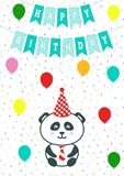 Greeting card with confetti, flags and baloons. Vector illustration. Baby boy arrival announcement, shower card. Panda cartoon bea Royalty Free Stock Photos