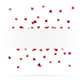 Greeting card with confetti hearts Royalty Free Stock Photo