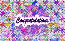 Greeting card with congratulation text, festive vector background Royalty Free Stock Photo