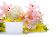Greeting card for congratulations with flowers Royalty Free Stock Photo