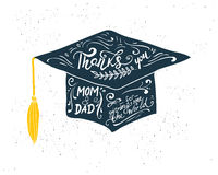 Greeting Card With Congratulations Graduate Completion of Studies Royalty Free Stock Images
