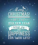 Greeting card with congratulations merry Christmas, creative lettering Stock Images