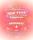 Greeting card with congratulations merry Christmas, creative lettering Stock Photos