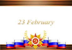 Greeting card with congratulations to 23 february. And Victory Day Stock Photos