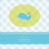 Greeting card with copy space and blue whale Royalty Free Stock Photo