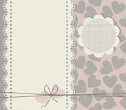Greeting card with copy space and square texture hearts.  Royalty Free Stock Photo