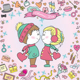 Greeting card, couple, wedding accessories, Stock Image