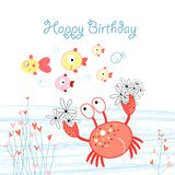 Greeting card with crab and fish Royalty Free Stock Photo