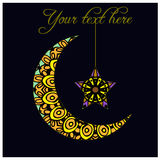 Greeting card with crescent moon - a symbol of Islam Royalty Free Stock Images