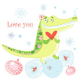Greeting card with a crocodile Stock Photo