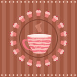 Greeting card with a cup of tea and a cupcakes Royalty Free Stock Photo