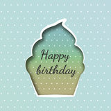 Greeting card with a cupcake birthday Royalty Free Stock Photo