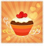 Greeting card with cupcake and hearts Stock Photography