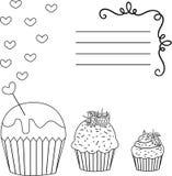 Greeting card cupcakes royalty free illustration