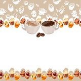 Greeting card with cups of coffee Royalty Free Stock Photo