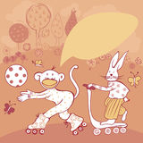 Greeting card with cupte monkey and bunny having fun Stock Images