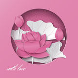 Greeting card with cut out round frame and floral background with lotus flowers on the pink oriental pattern backdrop Stock Image