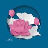 Greeting card with cut out round frame and floral background with pink lotus flowers decoration on the blue backdrop. Vector illustration, paper cut out art stock illustration