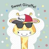 Greeting card Cute baby boy giraffe in cap. royalty free illustration
