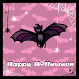 Greeting card with cute bat Stock Photo