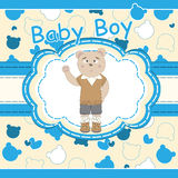Greeting card with cute bear boy Stock Photos