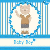 Greeting card with cute bear boy Stock Photo