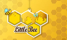 Greeting card cute bee. With honeycomb and honey stock illustration