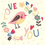 Greeting card with cute bird Stock Photo