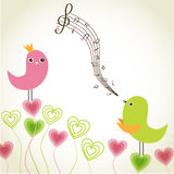 Greeting card with cute birds Stock Photography