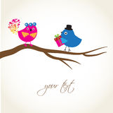 Greeting card with cute birds Stock Photos