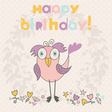 Greeting card with cute birds. Stock Images