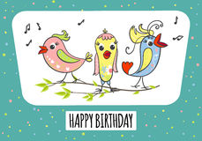 Greeting card with cute birds Royalty Free Stock Image
