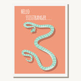 Greeting card with cute blue striped snake and text message Stock Photography