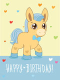 Greeting Card. Cute Boy. Cartoon Animals Vector. Lovely Horse Pony. Royalty Free Stock Images