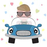 Greeting card cute  boy  driving a car on a hearts background. Stock Photography