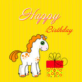 Greeting card with cute cadtoon horse Stock Photography