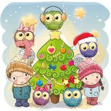 Two Cute Cartoon boy and girl and five owls stock illustration