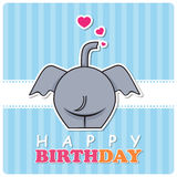 Greeting card with cute cartoon elephant. Royalty Free Stock Photography