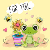 Greeting card cute cartoon Frog with flower Stock Photo
