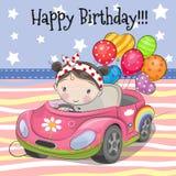 Cute Cartoon Girl with balloon. Greeting card Cute Cartoon Girl on a car with balloon stock illustration