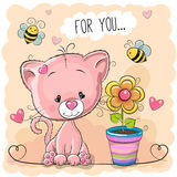Greeting card cute cartoon Kitten with flower Stock Image