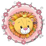 Greeting Card Cute Cartoon Lion Stock Image
