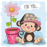 Greeting card Cute Cartoon Monkey Stock Photography