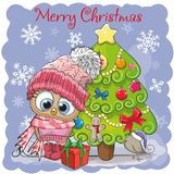 Cute Cartoon Owl in a hat. Greeting card Cute Cartoon Owl in a hat and scarf Stock Image