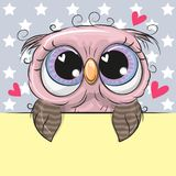 Greeting card cute Cartoon Owl is holding a placard. On a stars background vector illustration