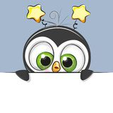 Greeting card cute Cartoon Penguin Boy. On a blue background stock illustration