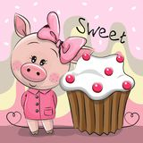 Greeting card Cute Pig with cake Royalty Free Stock Image