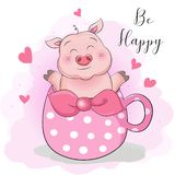 Greeting card cute cartoon pig with cup tea surprise. This is perfect for children, can be used as invitation birthday party, posters, backgrounds, wallpapers royalty free illustration