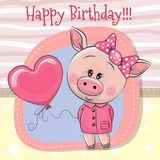 Greeting card Cute Pig girl with balloon Stock Photography